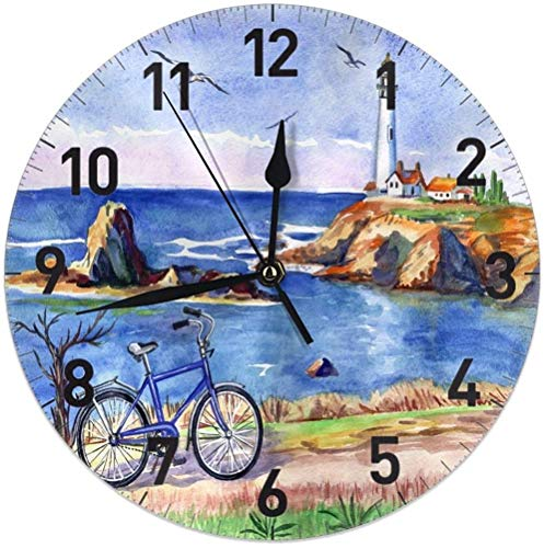 Lighthouse Island Gaviota bicicleta redonda reloj de pared silencioso sin hacer tictac, funciona con pilas, 9.5 pulgadas para estudiante, oficina, escuela, hogar, reloj decorativo