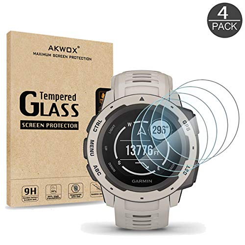 Price comparison product image [4 Pack] AKWOX Compatible for Garmin Instinct Smartwatch Tempered Glass Screen Protector,  2.5D Arc Edges 9 Hardness HD Anti-Scratch Bubble-Free [Lifetime Replacement Warranty]