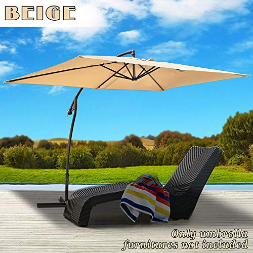BenefitUSA 10' x 6.5' Cantilever LED Patio Umbrella Battery Light Offset Hanging Banana Sunshade Rectangle Garden Balcony (Beige)
