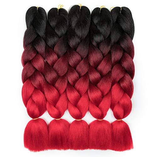 RN BEAUTY Ombre Braiding Hair Synthetic Jumbo Braids Hair Extensions Good Cheap High Temperature Fiber Afro Crochet Twist Weave Hair 24 inch 500 Gram 5 Bundles Weave 3 Tone Color Black/Burgundy/Red
