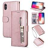 ZTOFERA iPhone XR Hülle, Magnetisch Folio Flip Wallet Leder Standfunktion Reißverschluss schutzhülle mit Trageschlaufe, Brieftasche Hülle für iPhone XR - Roségold