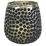 Just Artifacts 4-Inch Mercury Glass Reverse Hobnail Candle Holder Vase (1pcs, Gold/Black) - Mercury Glass Candle Holders for Weddings, Events and Life Celebrations!