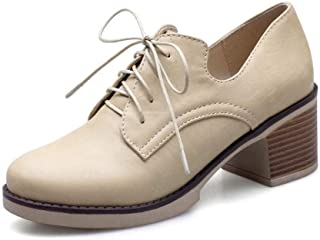 Oxfords for Women Chunky 6cm/2.36'' Heel Lace Up Faux Leather Soft Rubber Sole Pure Color Round Closed Toe Stiched Walking Personalized Fashion Shoes Well-Made (Color : Apricot, Size : 9.5 UK)