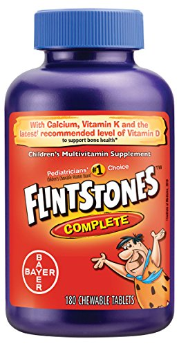 Flintstones Vitamins Chewable Kids Vitamins, Complete Multivitamin for Kids and Toddlers with Iron, Calcium, Vitamin C, Vitamin D & More, 180ct