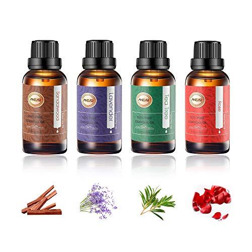 ANEAR Essential Oils Gift Set Lavender, Tea Tree, Rose, Sandalwood (4 X 30ml)