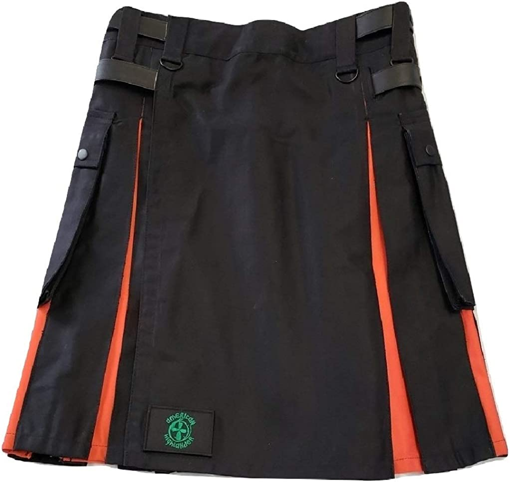 Black Utility Kilt with Orange in Pleats and Strap Snap Closing