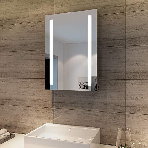 SONNI Spiegelschrank Bad 70 × 50 cm Spiegelschrank mit beschlagfrei Badezimmerspiegelschrank mit Kippschalter LED Spiegelschrank IP44