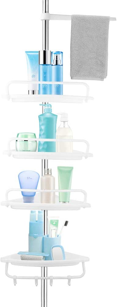 Corner Shower Caddy Tension Pole Bathroo New color Tier 4 Quality inspection White Rustproof