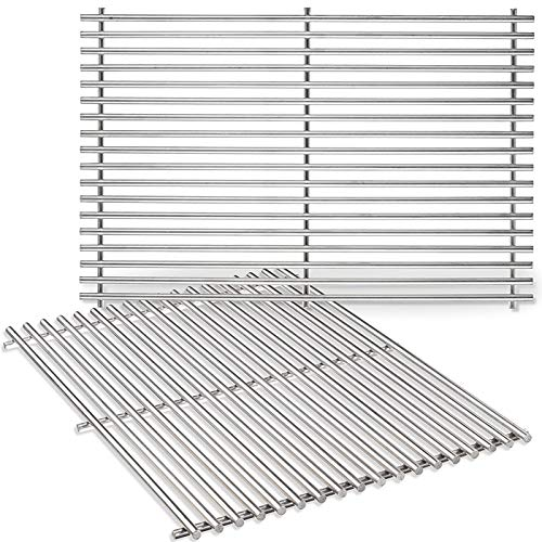 Uniflasy 7528 304 Stainless Steel Grill Cooking Gratefor Weber Genesis 300 Series (19.5 x 12.9 x 0.6) E/EP E310 E320 E330 S310 S320 S330 Series Gas Grills Replacement Parts for Weber 7528, 7524