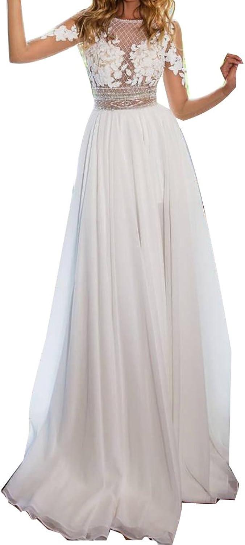 LISA.MOON Women's Sheer Long Sleeve Lace Summer Wedding Bridal Dresses with Side Split