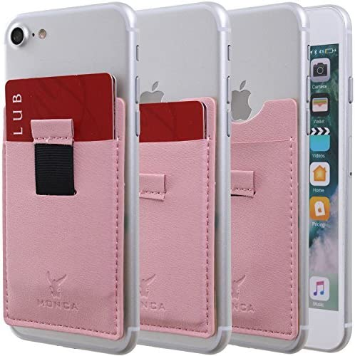 Monca Slide Up Wallet for Back of Phone Stick On Credit Card Holder for Cell Phone Pocket Leather (Pastel Pink)