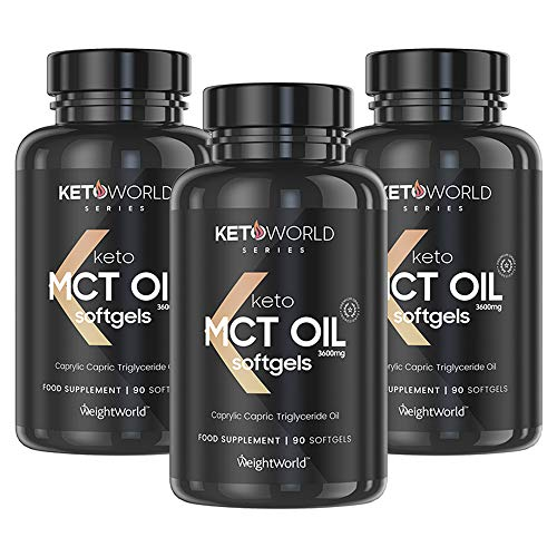 KetoWorld Pure C8 MCT Oil 270 Capsules - 3600mg Keto Pure Extra Virgin Coconut MCT Oil Per Serving, Boost Ketosis for Ketogenic Diet, Healthy Fat Supplement, Keto Tablets (90 X 3)