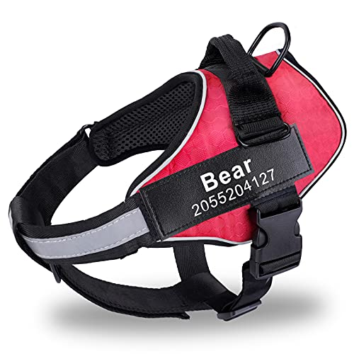 Custom Fluorescent Name And Number Personalized Dog Harness Patch, No Pull Pet Vest Harness 3M Reflective Breathable Adjust Pet Halters with Nylon Handle-No More Tugging For Small Medium Large Dogs