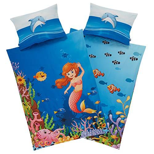 Aminata Kids Kinderbettwäsche Meerjungfrau 100-x-135 cm + 40-x-60 cm, Mädchen, Baumwolle mit YKK Reißverschluss, unser Wende Kinder-Bettwäsche-Set mit Fischen - Wende-Motiv Delfin, blau bunt