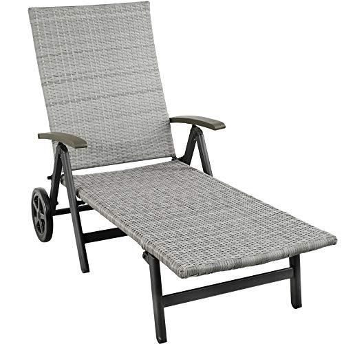 TecTake 800722 Aluminium Poly Rattan Sonnenliege mit Armlehnen und Rollen, klappbar, Gartenliege mit höhenverstellbarer Rückenlehne - Diverse Farben - (Hellgrau | Nr. 403746)