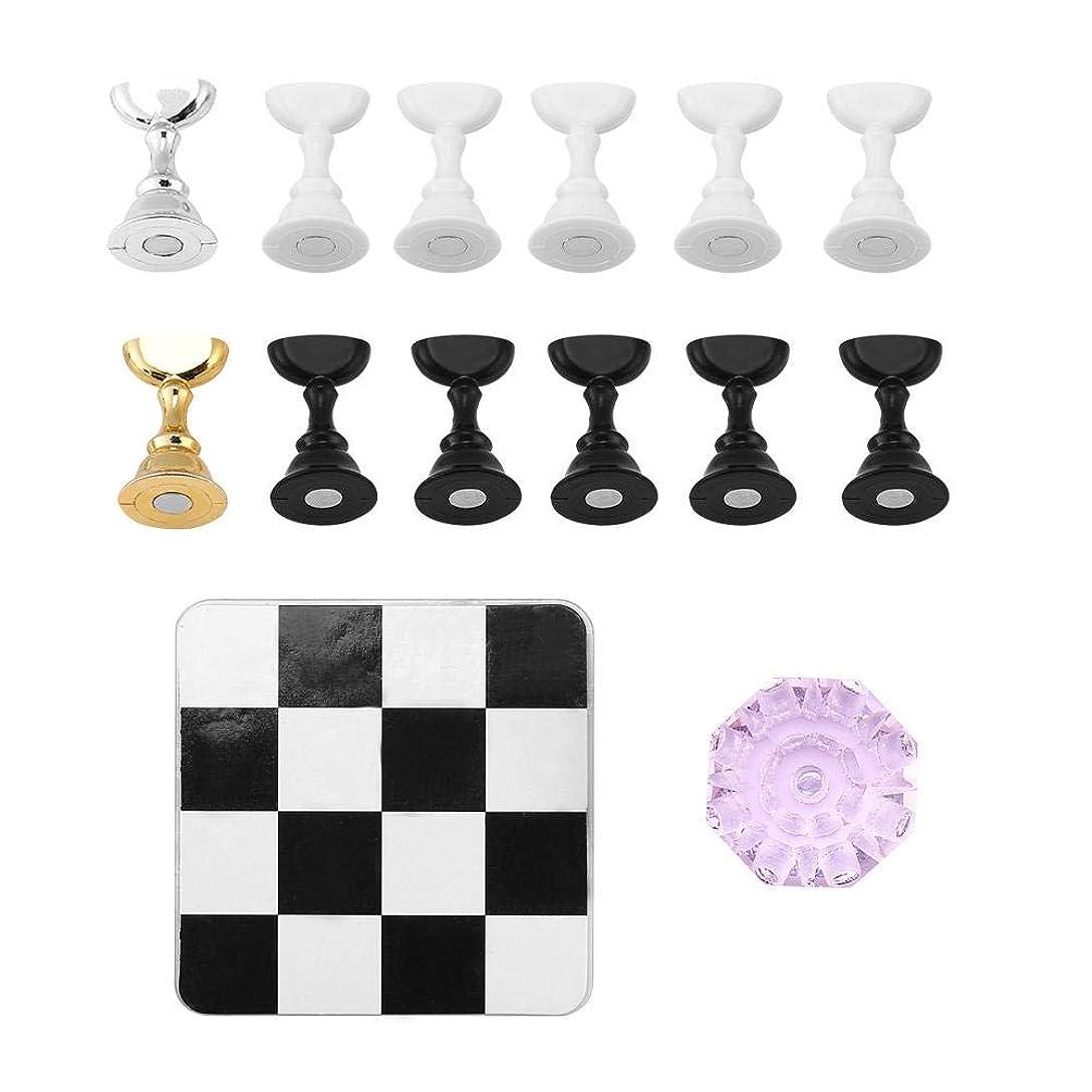 仕様スカリー信頼TOPINCN チェス盤 磁気 ネイルアートディスプレイ ネイルスタンド ネイルホルダー 練習用スタンド クリスタルベース