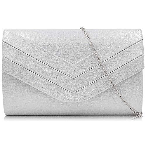 Milisente Clutch-Tasche für Damen, Suedu Clutch Taschen für Hochzeit Schulter Crossbody Abendtasche, Silber - PU-Leder silber - Größe: Small