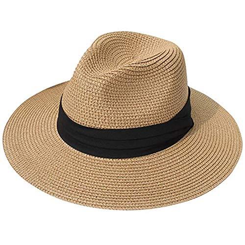 Sombrero de Verano Sol Mujer, Sombrero de Paja Plegable con ala Ancha, Sombrero De Paja, Ajustable Sombrero de Verano para Playa al Aire Libre Protección Anti-UV UPF 50