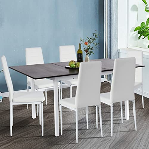 """IKIFLY Modern Extension Dining Table, Metal and Wood Extendable Kitchen Table with Removable Drop-Leaf Tabletop, 47.3""""–63"""" W, Easy Assembly - Dark Brown/White"""
