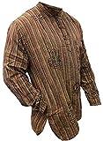 Camisa estilo hippie, bohemio, con efecto lavado a la piedra y de rayas, de manga larga,...