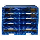 Storex 10-Compartment Mailroom Sorter, Plasticized Dry-Erase Surface, Blue (80301U01C), 21...