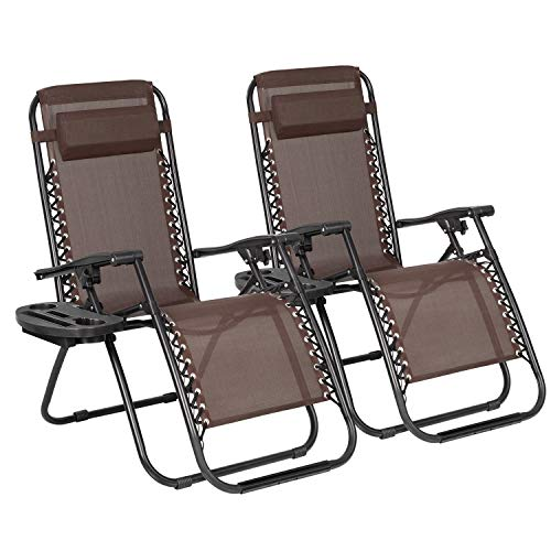 JUMMICO Zero Gravity Chair Patio Outdoor Adjustable Reclining Folding Chair Lawn Lounge Chair for Deck Beach Yard and Beach with Pillows Set of 2 (Brown)