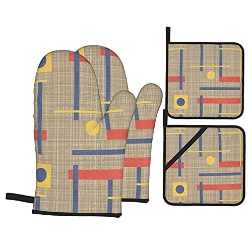 Juego de guantes para horno y soportes para ollas, a Nod To Bauhaus, resistentes al calor, guantes de cocina antideslizantes para parrilla, cocinar, hornear, barbacoa, microondas
