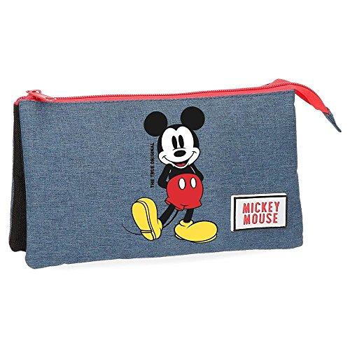 Disney Estuche Mickey Blue tres compartimentos