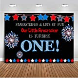 Mocsicka Independence Day 1st Birthday Backdrop 7x5ft 4th of July Our Little Firecracker is Turning One Bday Photo Backdrops Patriotic National First Birthday Photography Background