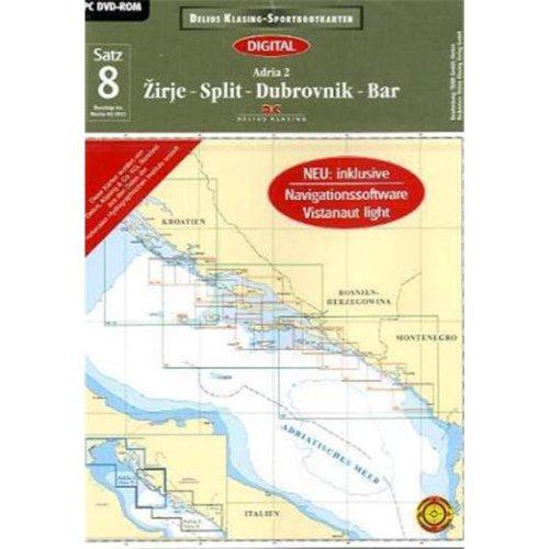 Delius Klasing-Sportbootkarten Adria, DVD-ROMZirje, Split, Dubrovnik, Bar. Digital. Inklusive Navigationssoftware Vistanaut light