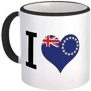 Jag älskar Cooköarna : Gåva Mugg : Flagga Hjärta Crest Country Cook Islander Expat