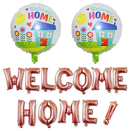 Globaldream Welcome Home Ballon, 14 Stück Welcome Home Buchstaben Ballon Mit 2 Stück Folienballons für Home Family Party Dekorationen