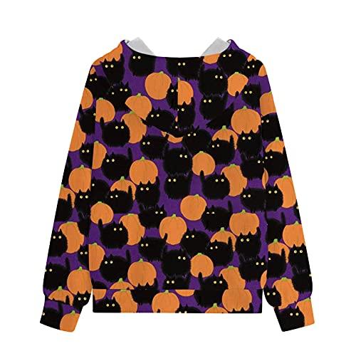 MEIPIQI Sudadera con capucha y sudadera para mujer, diseño de Halloween con impresión digital 3D