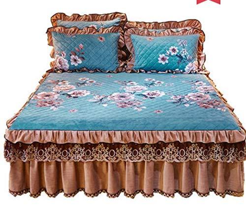 Winter gewatteerde dikke kristal fluweel warm bed rok eenpersoonsbed afdekking dubbele antislip dekbed matras topper dubbele 220X200cm
