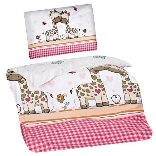 Aminata Kids Kinderbettwäsche 100x135 Mädchen Baumwolle Giraffe Tier-Motiv rosa pink weiß - Dschungel-Safari-Zoo-Tiere-Motiv - Giraffen & Herzen Kinder-Baby-Bettwäsche-Set Bettbezug Kinder-Bett