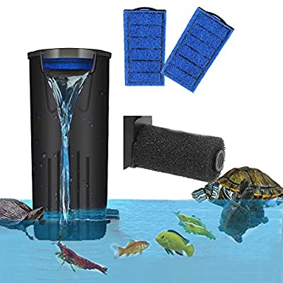 yanhe Aquarium Turtle Filter Waterfall Flow Submersible Filter Low Water Level Filter Clean Pump for Turtle Fish Tank (500L/H)