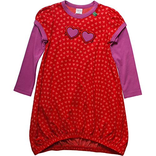 Fred'S World By Green Cotton Heart Dress Robe, Rouge (Traffic Red 018176306), 86 Bébé Fille