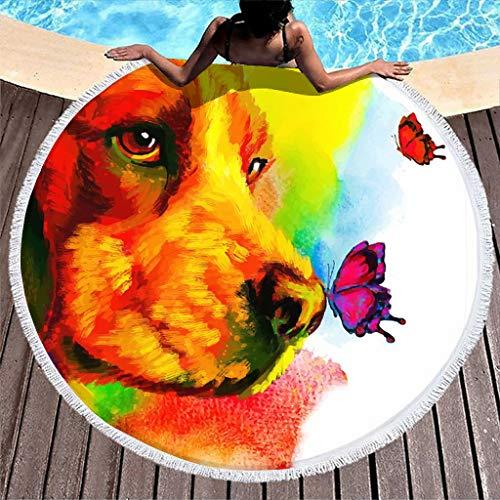 Beagle Buterfly Wasserfarbe Wasserabsorbierend Round Beach Towel Blanket con borlas para niñas niños mujeres Gemälde, poliéster, blanco, talla única