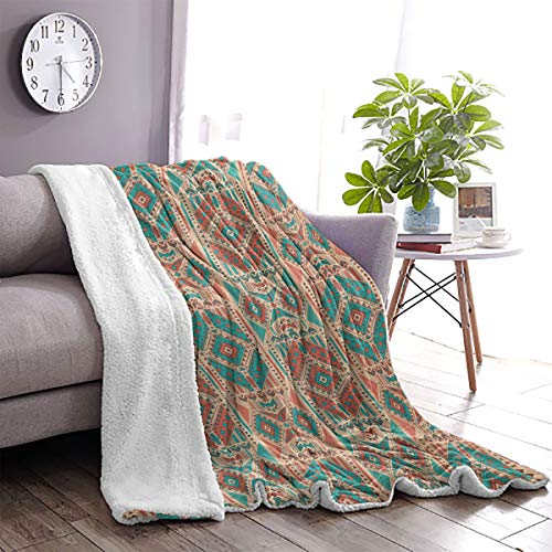 LanQiao Mexican Sherpa Wool Blanket Vintage Pastel Toned Geometric Composition American Motifs 63'x90' Pale Sea Green Coral Dark Coral