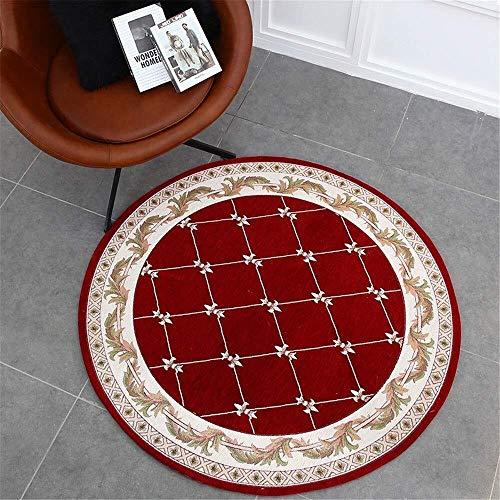 Alfombra felpudo, dos mesa redonda pastoral salón tapetes alfombra estudio guardarropa entrada silla Europea ordenador cojín redondo (Color : C2, Size : 1.0m)