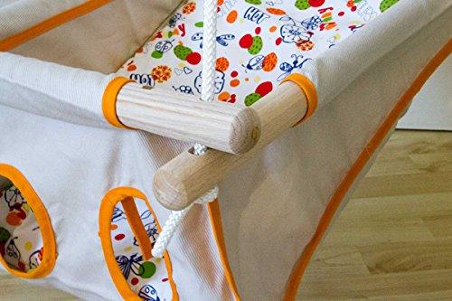 Hängebettchen aus Baumwolle von Petite planète Zébul'hamac Babybettchen Hängeschaukel (natur/orange)
