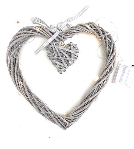 Corazón con pequeñas de mimbre grande, baumelndem Corazones iluminado 20LED de lámpara con 3pilas AA incluidas Diámetro: 30-35cm