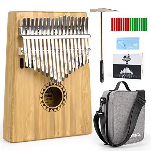 AKLOT Kalimba 17 Schlüssel Bambus Marimba für Kinder Erwachsene,Massivholz Daumenklavier Professionelle Musikinstrument Geschenk Mbira Finger-Klavier