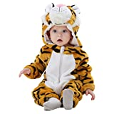 TUTINA TIGRE: Senza dubbio: il tuo bambino si trasformera' in una vera tigre e il suo costume sara' il più originale della festa NEONATI E BAMBINI PICCOLI: Onesie in 4 dimensioni diverse da 0-24 mesi. 0-6 mesi(56-66 cm), 6-12 (66-73 cm), 12-18(73-80 ...