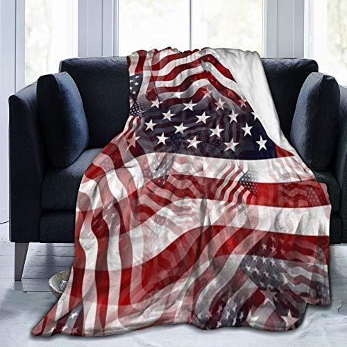 Bernice Winifred Bandera Americana Rojo Blanco Rayas Azules Patrón de Estrellas Manta de Microfibra Ultra Suave Fabricada en Franela Anti-Pilling, más cómoda y cálida.80x60