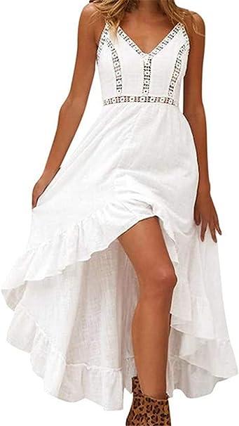 Meilinvren Kleider Sommer Damen Lange Boho Kleid Elegante Weisse Spitze Armellose Maxi Kleider Vintage Bohemian Midi Kleid Frauen Kleidung Amazon De Bekleidung