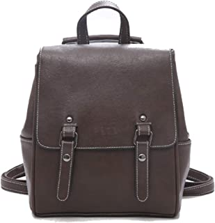 Fashion PU Leather Backpack Purse Satchel School Bags Pu Large Capacity Personalized Retro Backpack (Color : Brown, Size : 24 * 12 * 27cm)