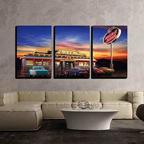 "wall26 - 3 Piece Canvas Wall Art - Retro American Diner at Dusk - Modern Home Art Stretched and Framed Ready to Hang - 24""x36""x3 Panels"