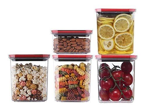 Vorratsbehälter Behälter Müslibehälter 5-teiliges Set Vakuumtransparenter Kunststoff Milchpulver Nuss Snack Kaffeebohne Versiegelte Aufbewahrungsbox 1227 (Größe: A)