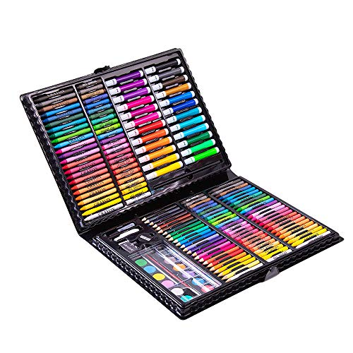 KAIZERUI168 pcs Double Sided Art Set, Portable Painting & Drawing Kit for Kids with Oil Pastels, Crayons, Colored Pencils, Markers, Paint Brush, Pads, Great Gifts for Kids, Beginners